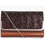 boohoo Saffron Metal Trim Glitter Clutch Bag