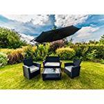 Kingfisher Black 4 Piece Curved Rattan Effect Outdoor Garden Furniture Set