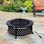 Outsunny Outdoor Garden Metal Firepit Fire Pit Natural Slate Table Bbq Grid Round Brazier Patio Heater Stove
