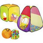 TecTake Pyramid Children's Tent with Tunnel + 200 Balls + Bag
