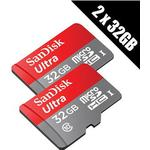 2 x SanDisk Ultra 32 GB microSD SDHC Memory Cards UHS-I Class 10 80 MB/s read + 2 x SD Adapters (Double Pack)