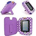 Gadget Giant ® VTech InnoTab 3 Purple & White Polka Dots Leather Wallet Case Cover Stand Protector - Cute Fun Polka Dot Dots Design