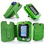 Gadget Giant ® VTech InnoTab 3 Green Leather Wallet Case Cover Stand Protector - Cute Fun Kiddy Design