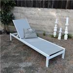 Venture Design Copacabana Sun Lounge - White Alu/Grey Textilene/Aintwood