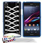 """Muzzano Extra-Slim Flexible """"Sneakers Black"""" Case with 3 Ultra Clear Screen Protector for Sony Xperia Z1 - Blue"""