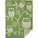 Tree Owl babyfilt ull green, Klippan Yllefabrik