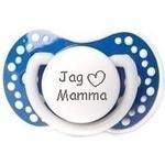 """Lovi® napp med text. marinblå. \""""jag -hjärta- mamma\"""