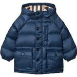 Burberry Blue Shower-resistant Hooded Puffer Jacket 4 years