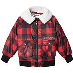 The BRAND Shearling Pilot Jacket Red Check 80/86 cm