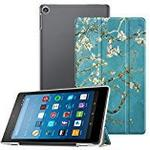 Fintie Case for All-New Amazon Fire HD 8 (7th Gen, 2017) - Lightweight Slim Shell Standing Cover with Translucent Frosted Back Protector Supports Auto Wake / Sleep, Compatible with Fire HD 8 (Previous 6th Gen, 2016), Blossom