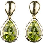 EWA 9ct Gold Pear Drop Earrings, Green