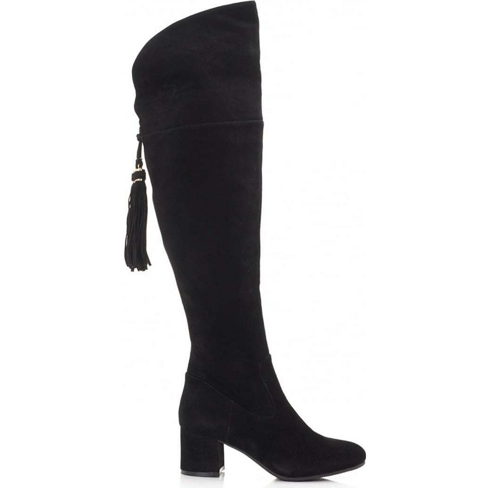 Moda In Low Pelle Suede Tassle Back Low In Heel Boots Colour: BLACK, Size: 5 082410