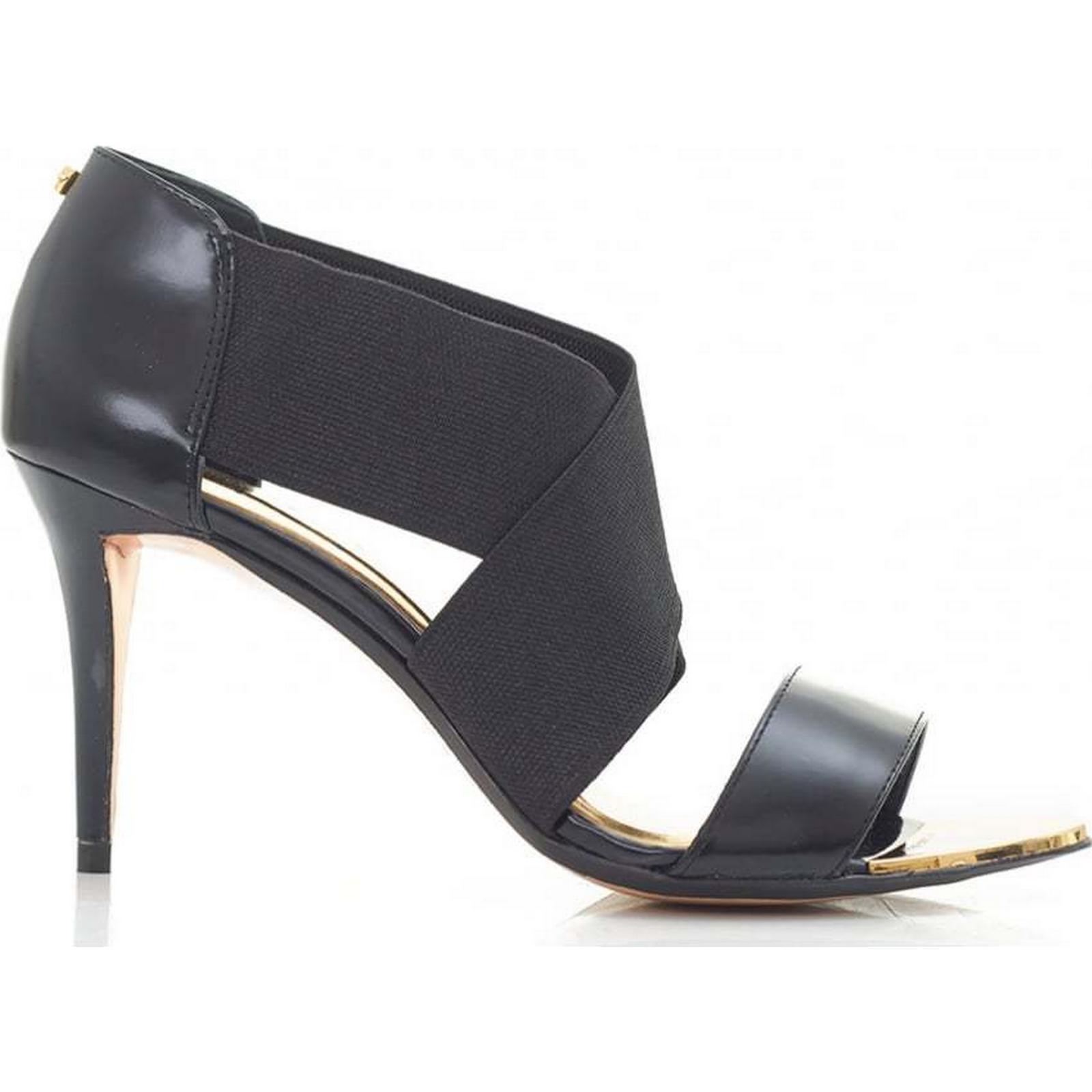 Ted Baker Low Heel Colour: Elastic Peep Toe Sandals Colour: Heel BLACK, Size: 5 2f427e