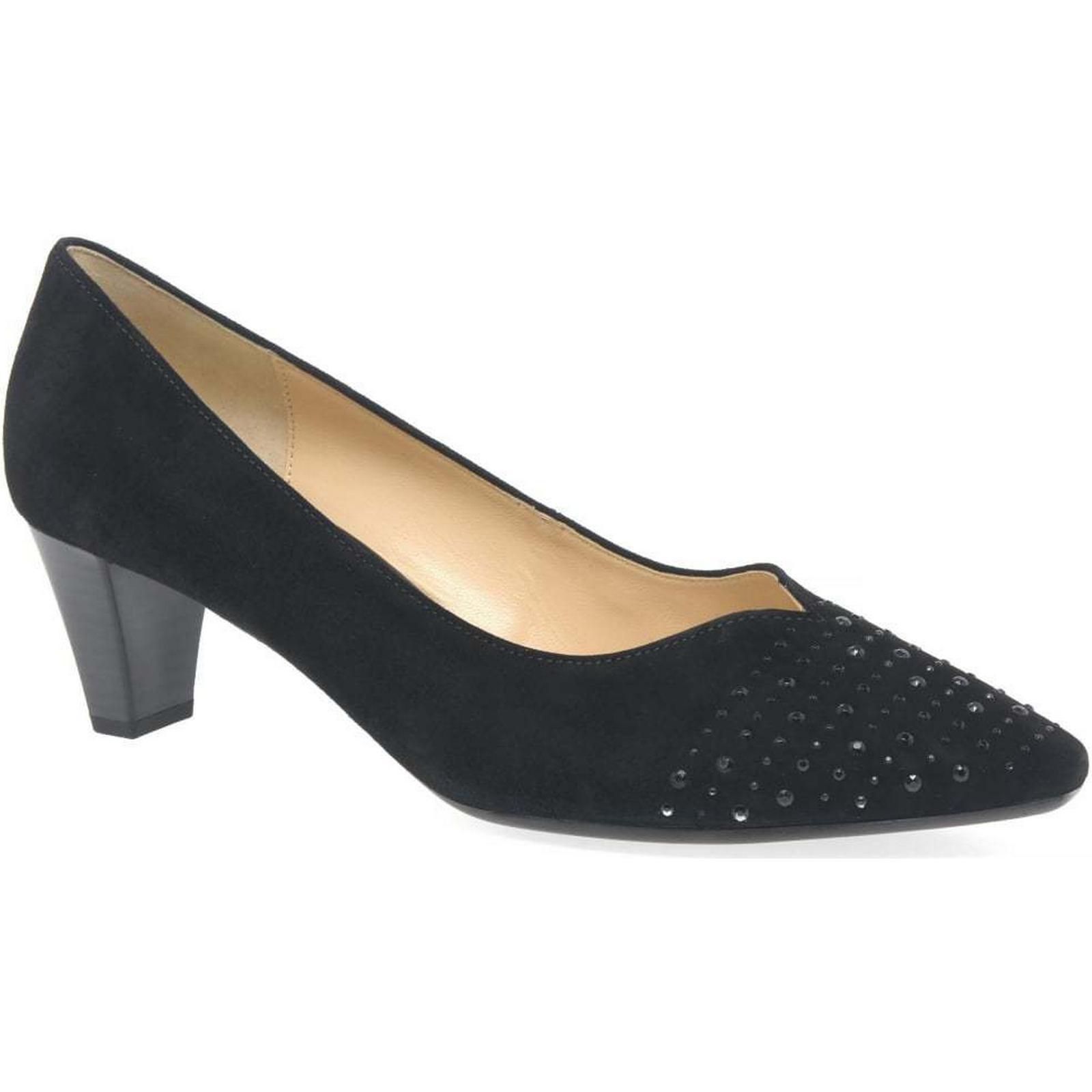 Gabor Bathurst Black Womens Court Shoes Colour: Black Bathurst Suede, Size: 7 429641