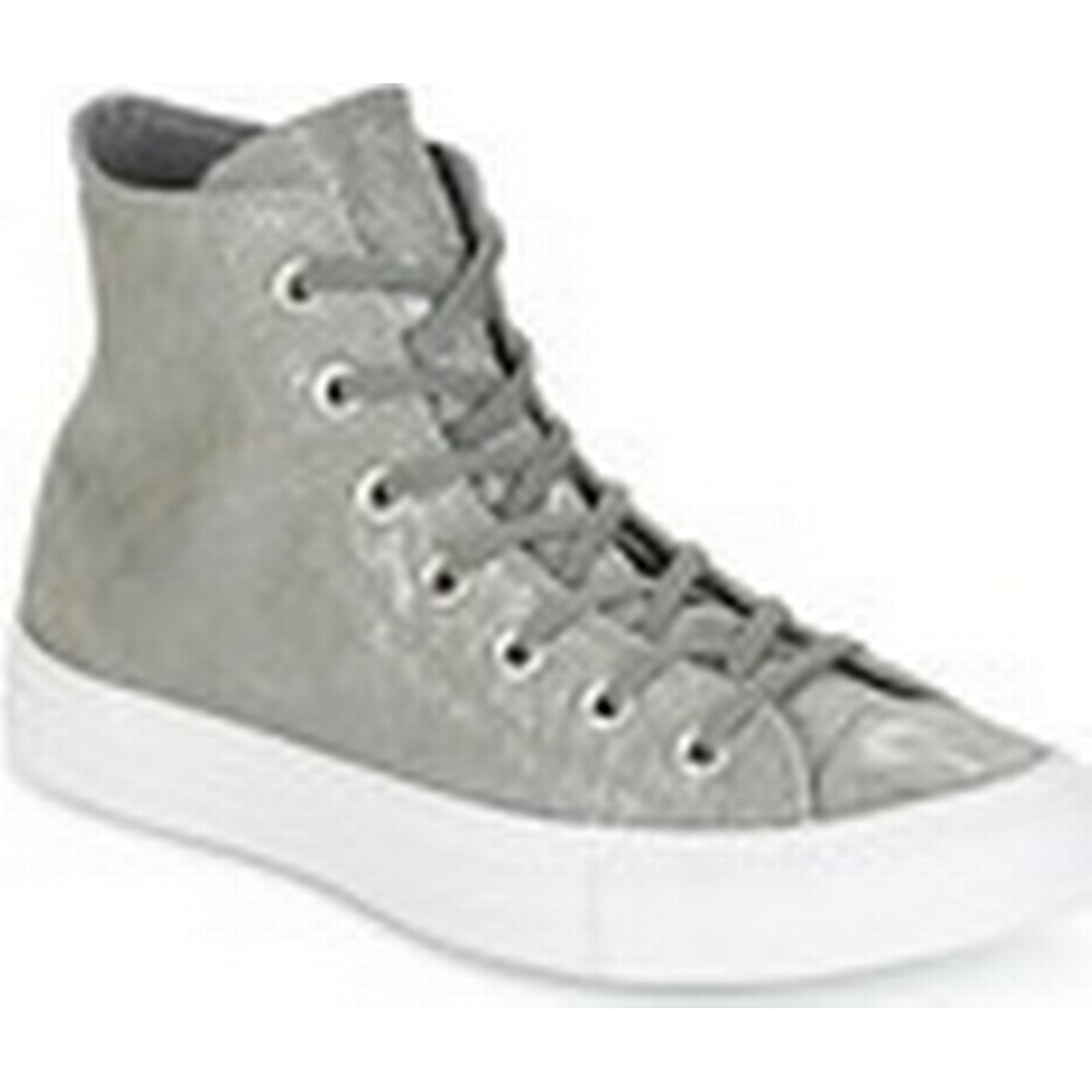 Converse  CHUCK TAYLOR ALL STAR SHIMMER SUEDE HI HI SUEDE MASON/MASON/WHITE  women's Shoes (High-top Trainers) in Grey 9f4bd3