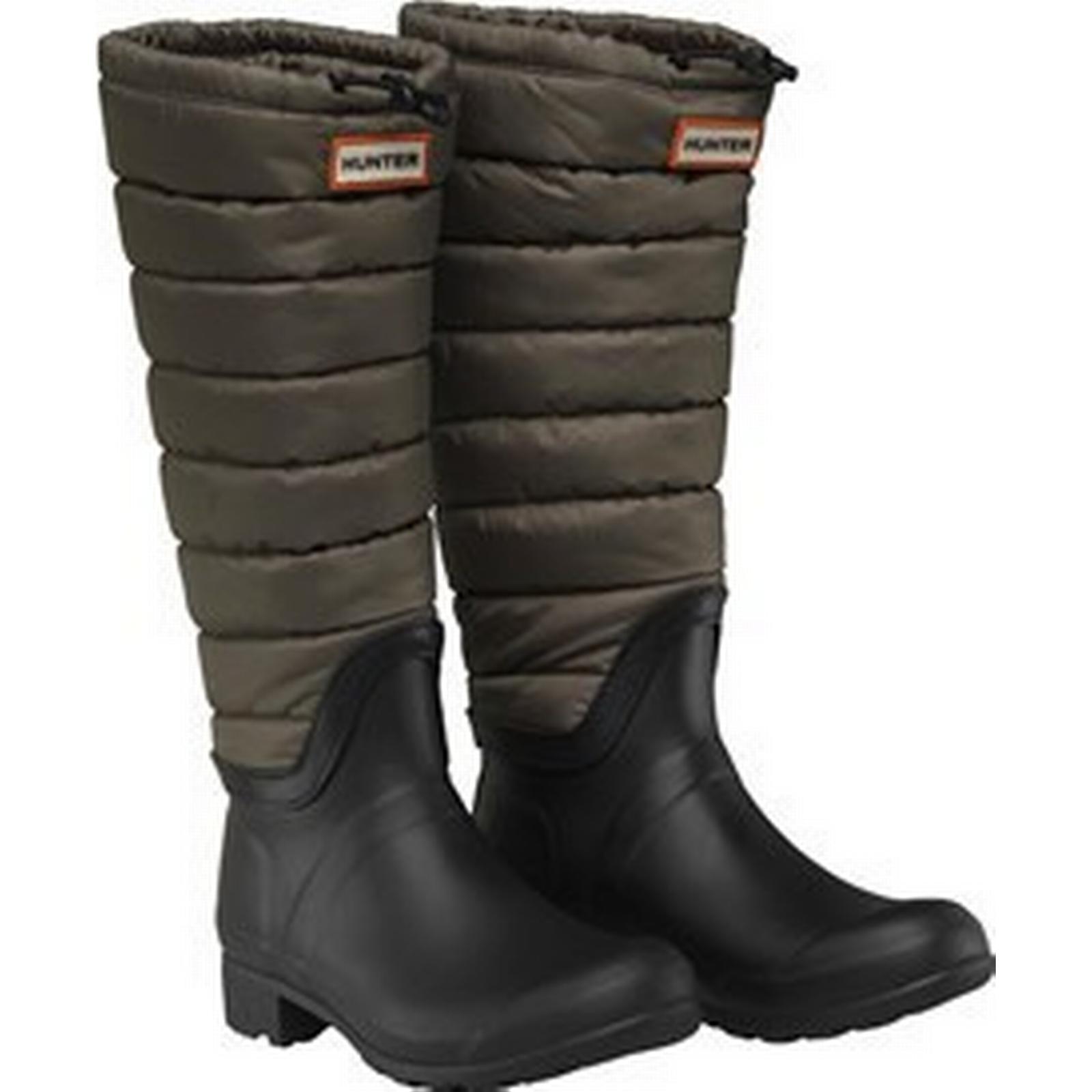 Hunter Original Womens Original Hunter Tall Quilted Leg Wellington Boots Swamp Green/Black 372da4