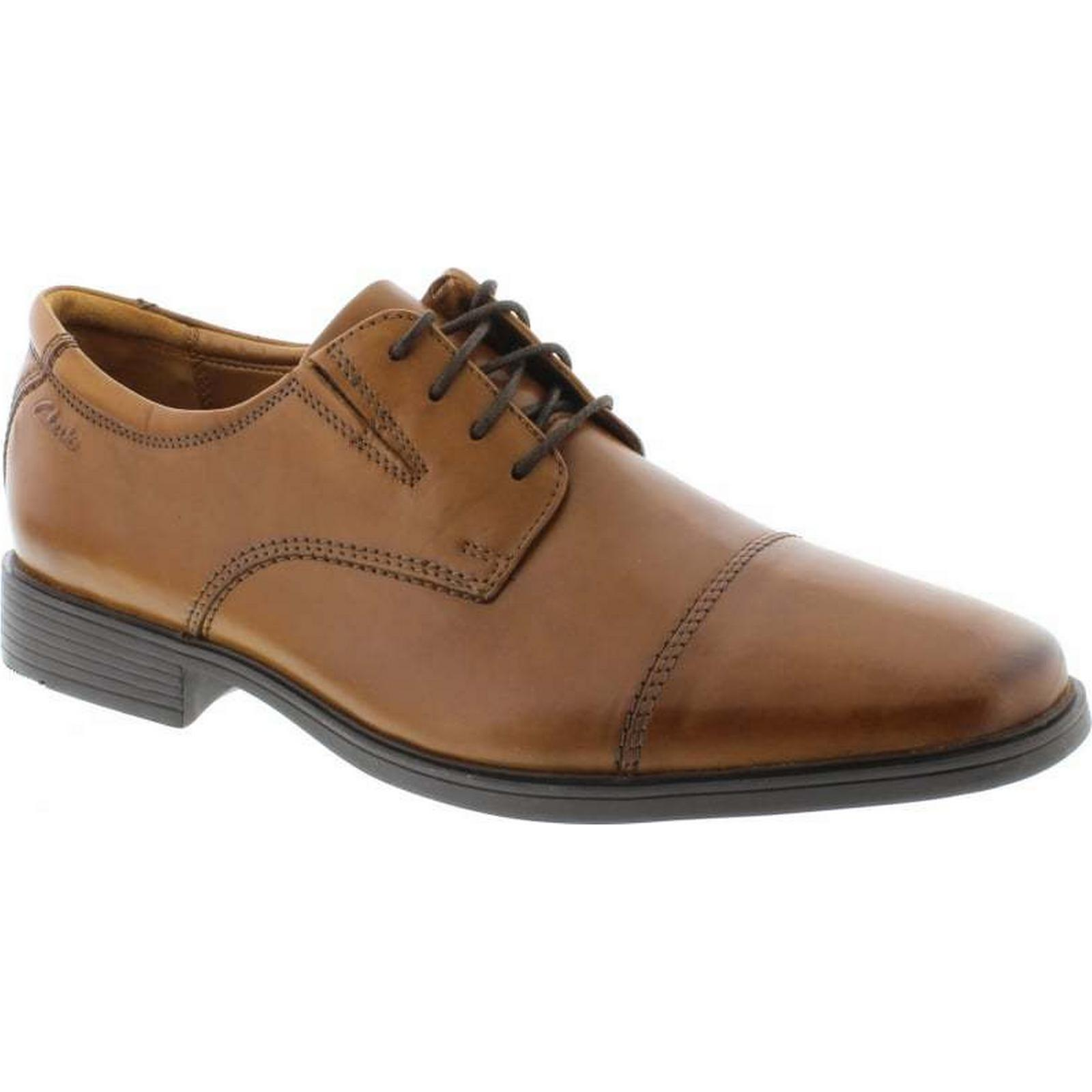 Clarks 10 Tilden Cap - Dark Tan Leather Size: 10 Clarks UK 874ceb