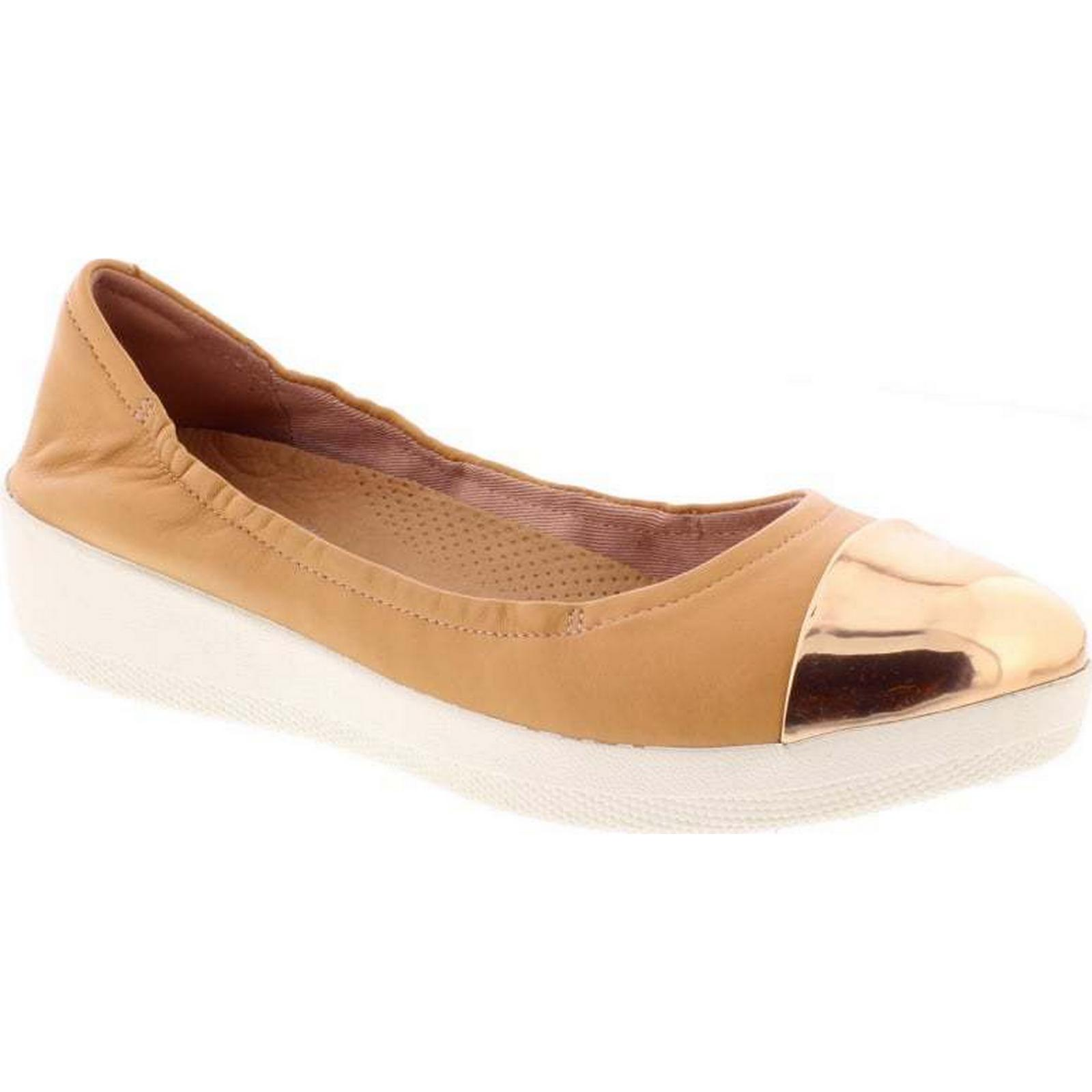 FitFlop™ FitFlop Superbendy Mirror Toe Ballerina - Nude Leather 5 Size: 5 Leather UK d36251
