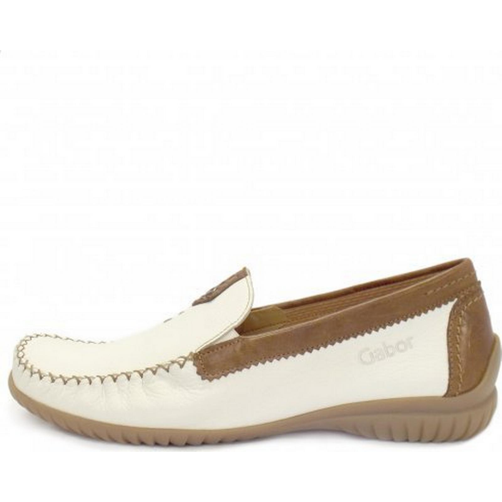 Gabor California Ladies Wide Fit Fit Wide Loafer in White Size: 4.5, Colour: WH 0f9bc2