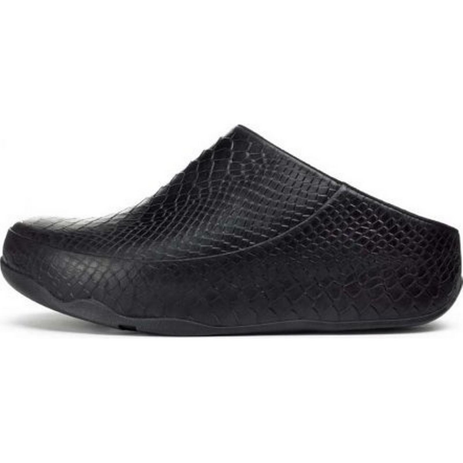 FitFlop Gogh Moc Snake casual slip on clogs in in clogs black Size: 2, Colour: 6cb38b