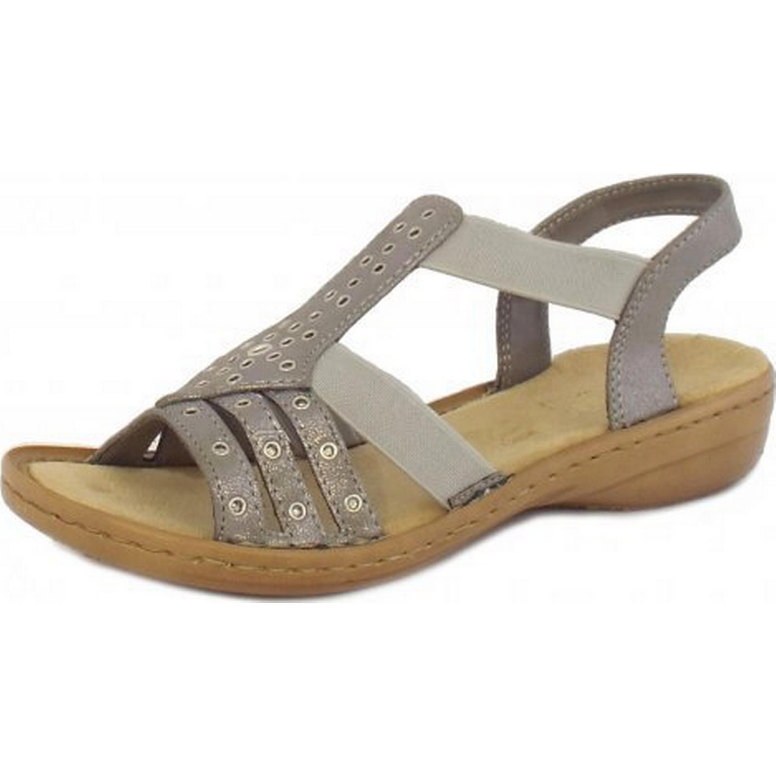 Rieker Janis Ladies Stretch Sandals Sandals Stretch in Silver  Size: 43, Colour: METAL 2d2297