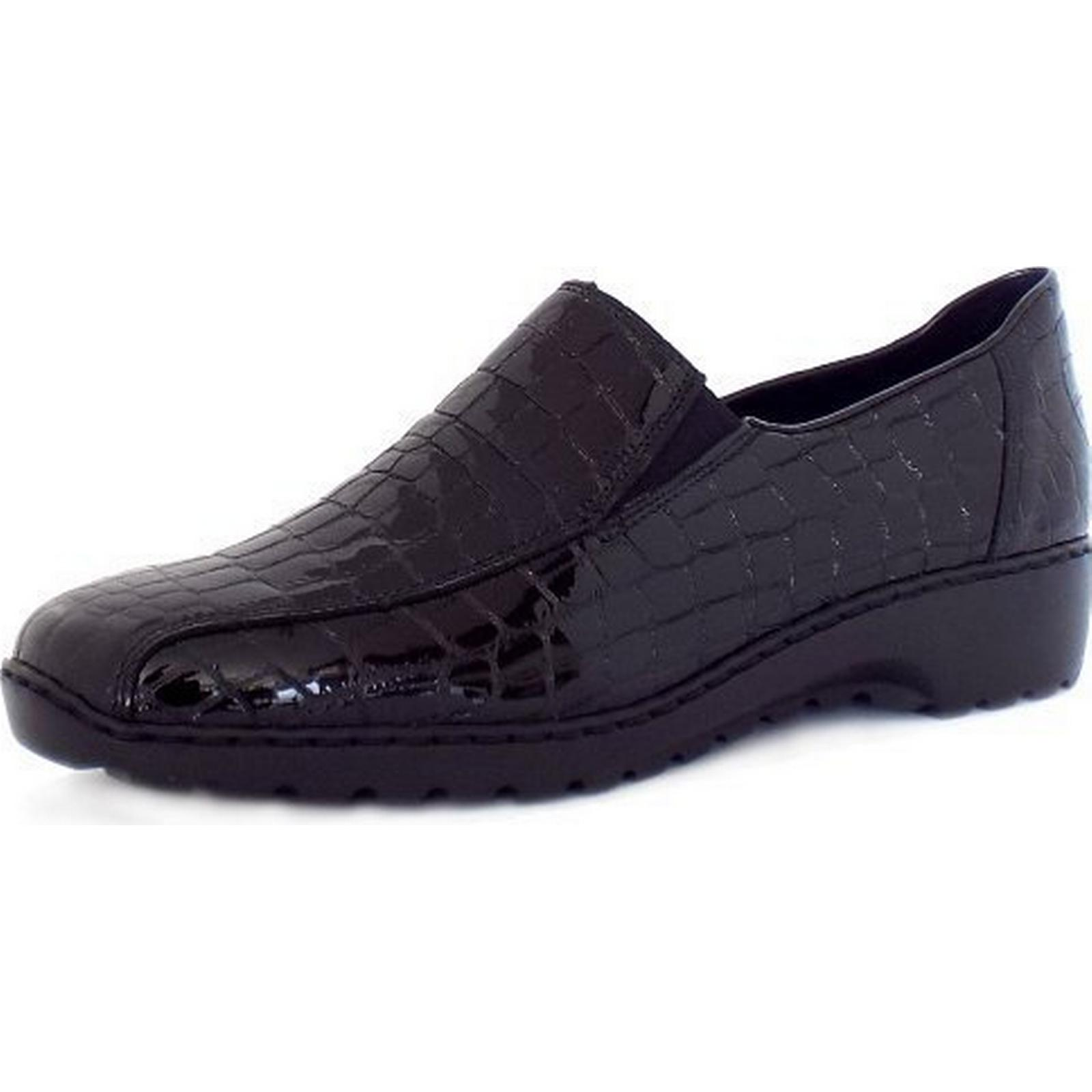 Rieker WONDER RIEKER LADIES LADIES RIEKER SHOES Size: 36, Colour: BLACK CROC 89a125