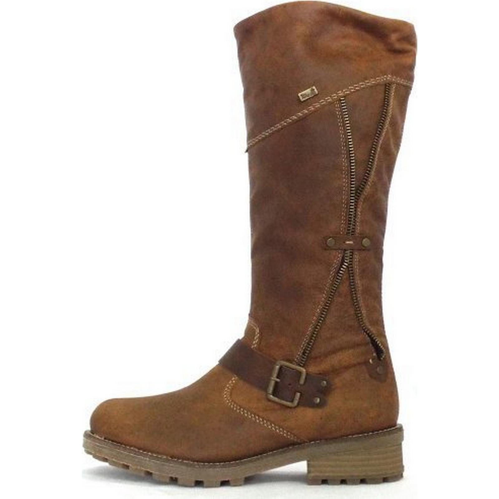 Rieker Austin Tan Leather Long Boots Boots Long Size: 42, Colour: TAN a55238