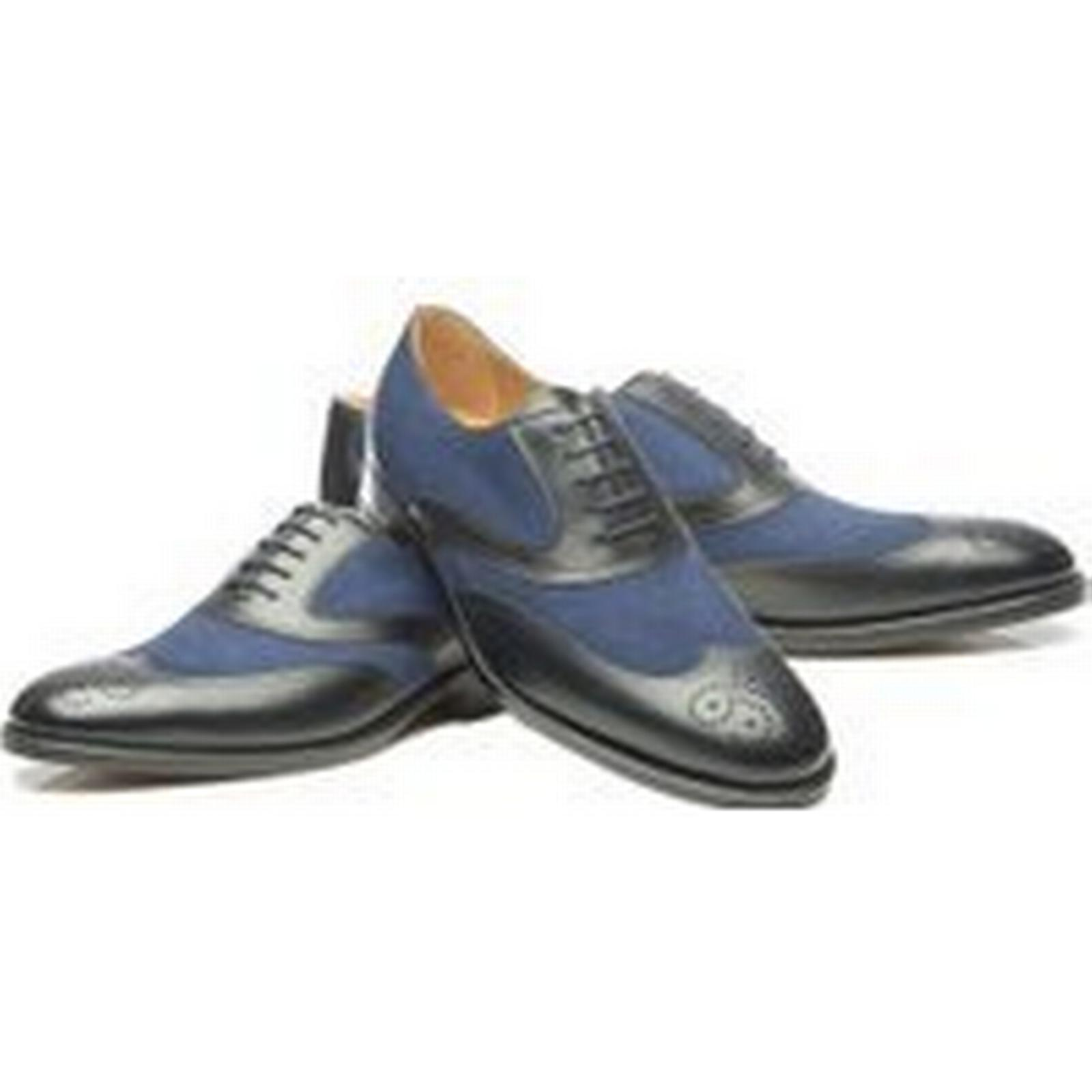 Bonanza (Global) Handmade Black Wing Tip shoes Men Two Two Men Tone Blue Brogue Formal Leather Suede Shoe fe3916