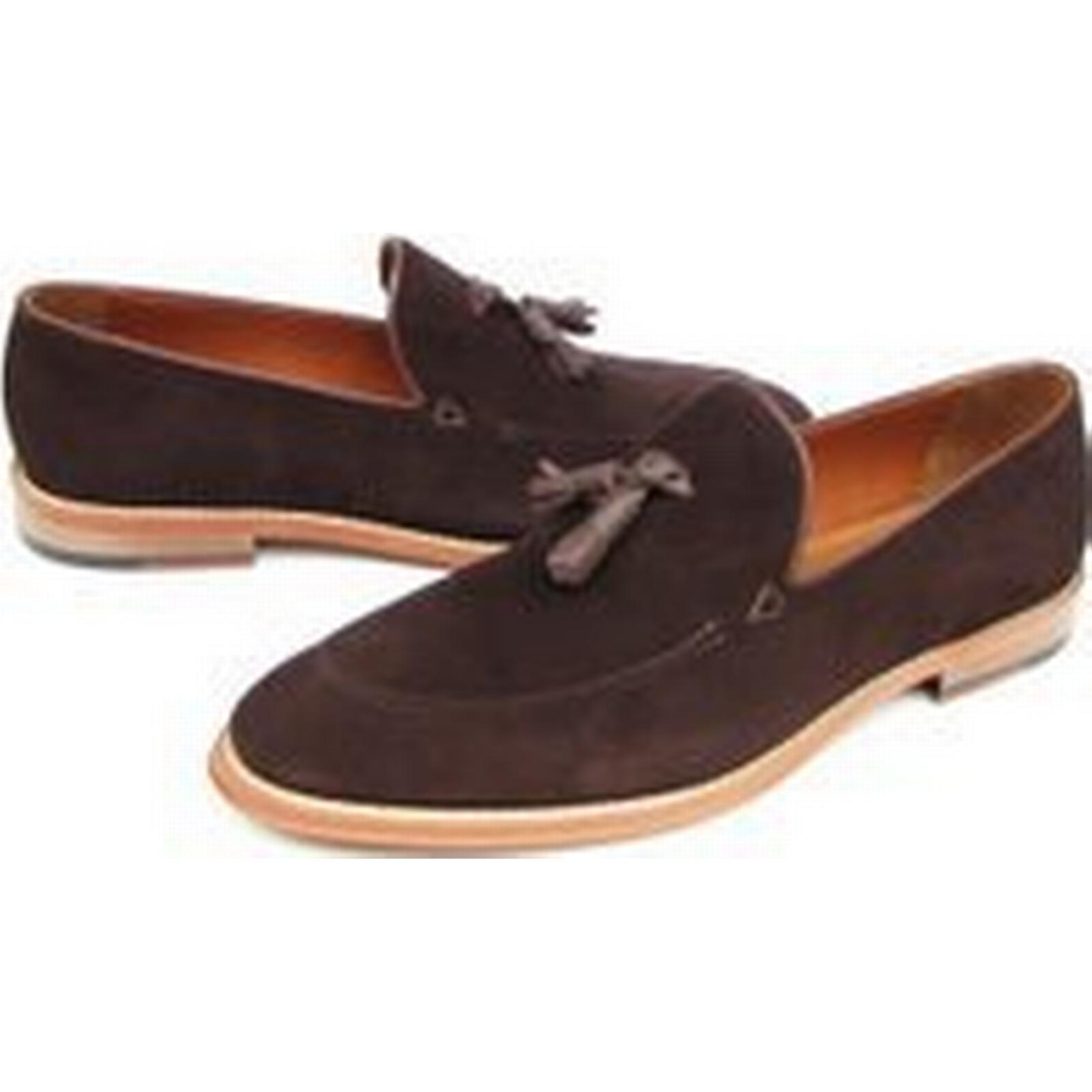 Bonanza (Global) Handmade men slip ons brown suede leather shoes shoes, Men suede mocassins brown shoes leather d3e939