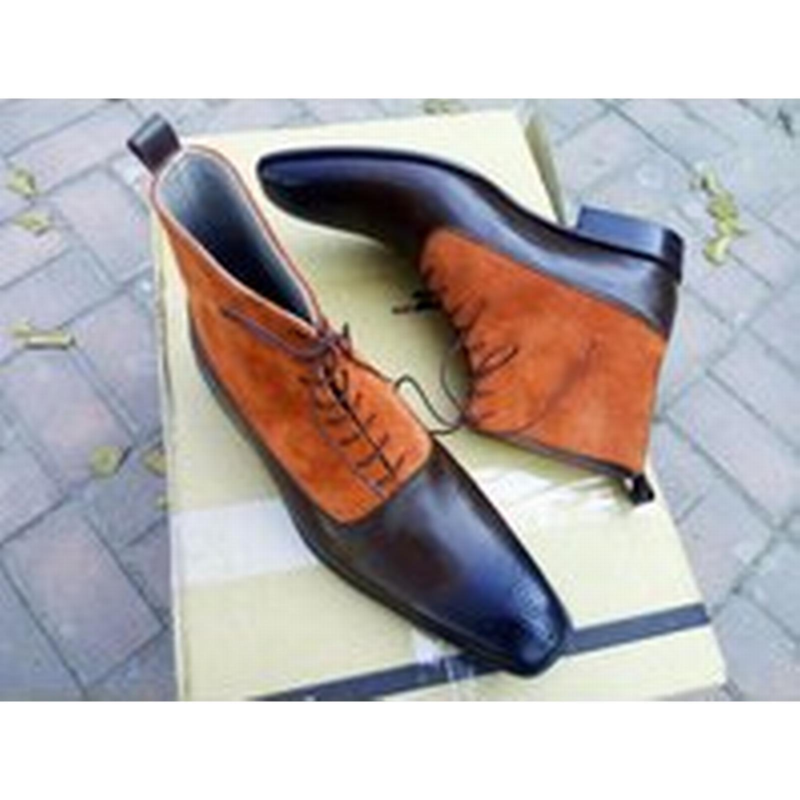Bonanza (Global) Handmade Brown Men Ankle Boot Brown Handmade Tan Suede & Leather Shoes Dress Formal Denim Boot 40b1b0