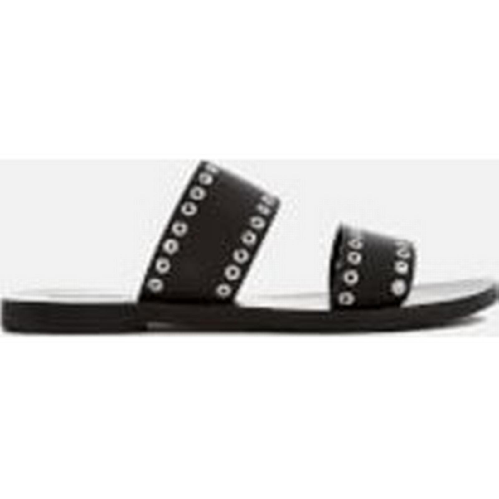 Sol Sana Women's Botany Leather Black Double Strap Sandals - Black Leather d1833d