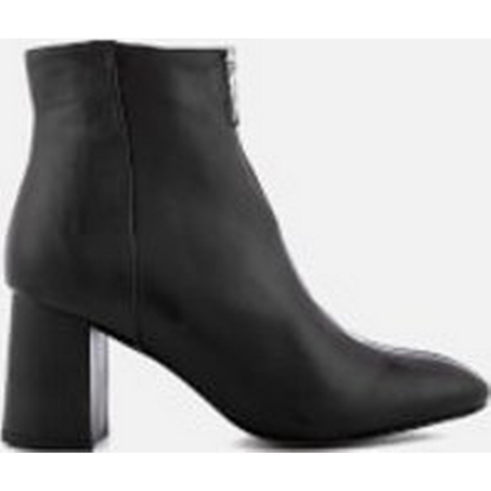 Rebecca Minkoff Women's Stefania Leather Black Heeled Ankle Boots - Black Leather 307c58