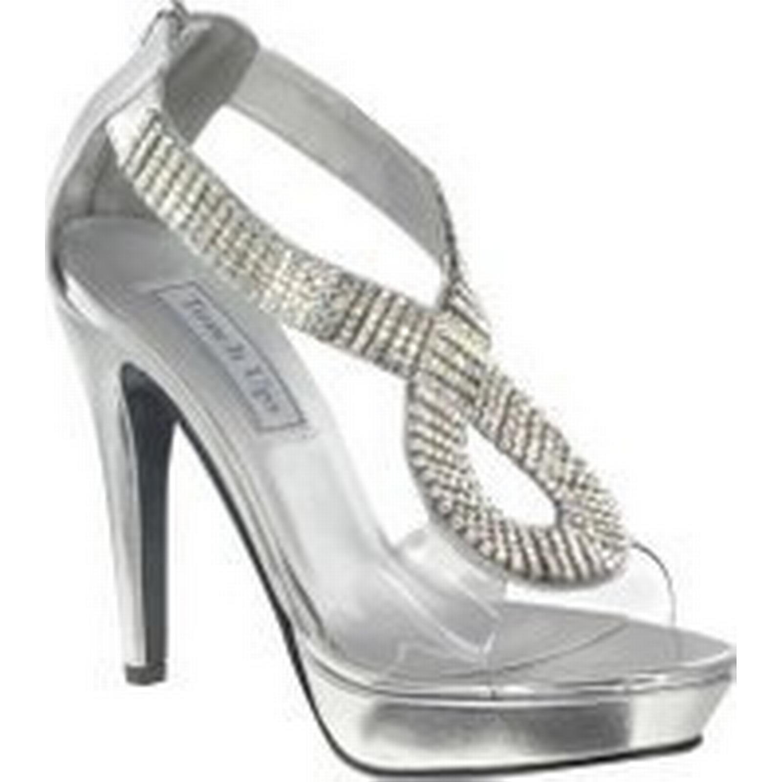 Bonanza (Global) Silver Silver Silver Clear Rhinestone Serena Pageant Prom High Heel Platform Sandal Shoe cec383
