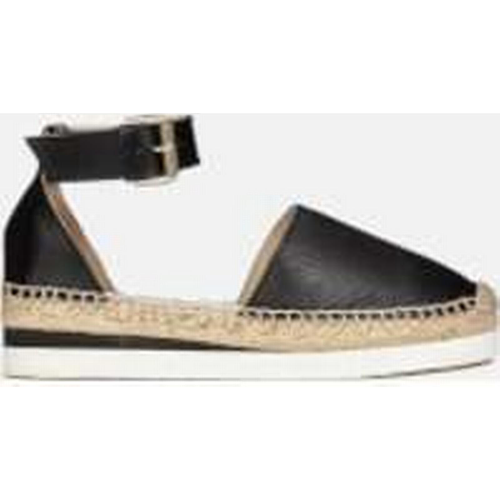 See By Flat Chloé Women's Leather Espadrille Flat By Sandals - Black - 6 - Black c6870d