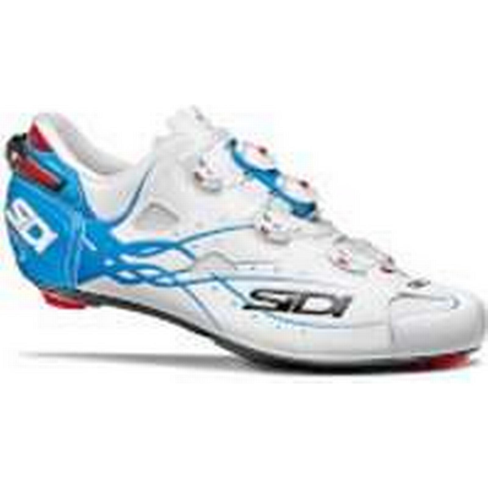 Sidi Shot Matt Road Blue Shoes - Matt White/Light Blue Road - EU 43.5 - Matt White/Light Blue 2c9f49