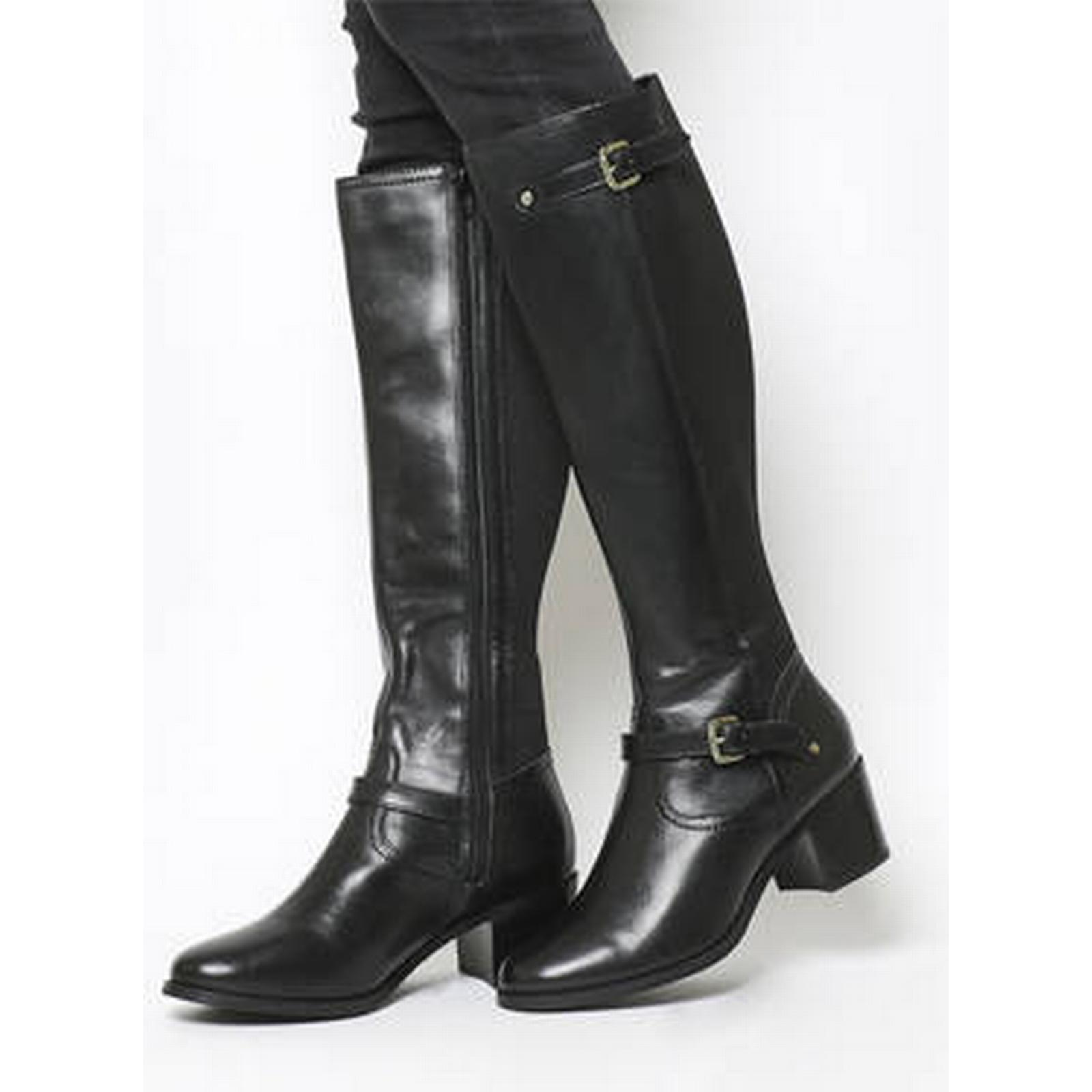 Office Kennedy Mid Heel Riding LEATHER Boots BLACK LEATHER Riding 33f526