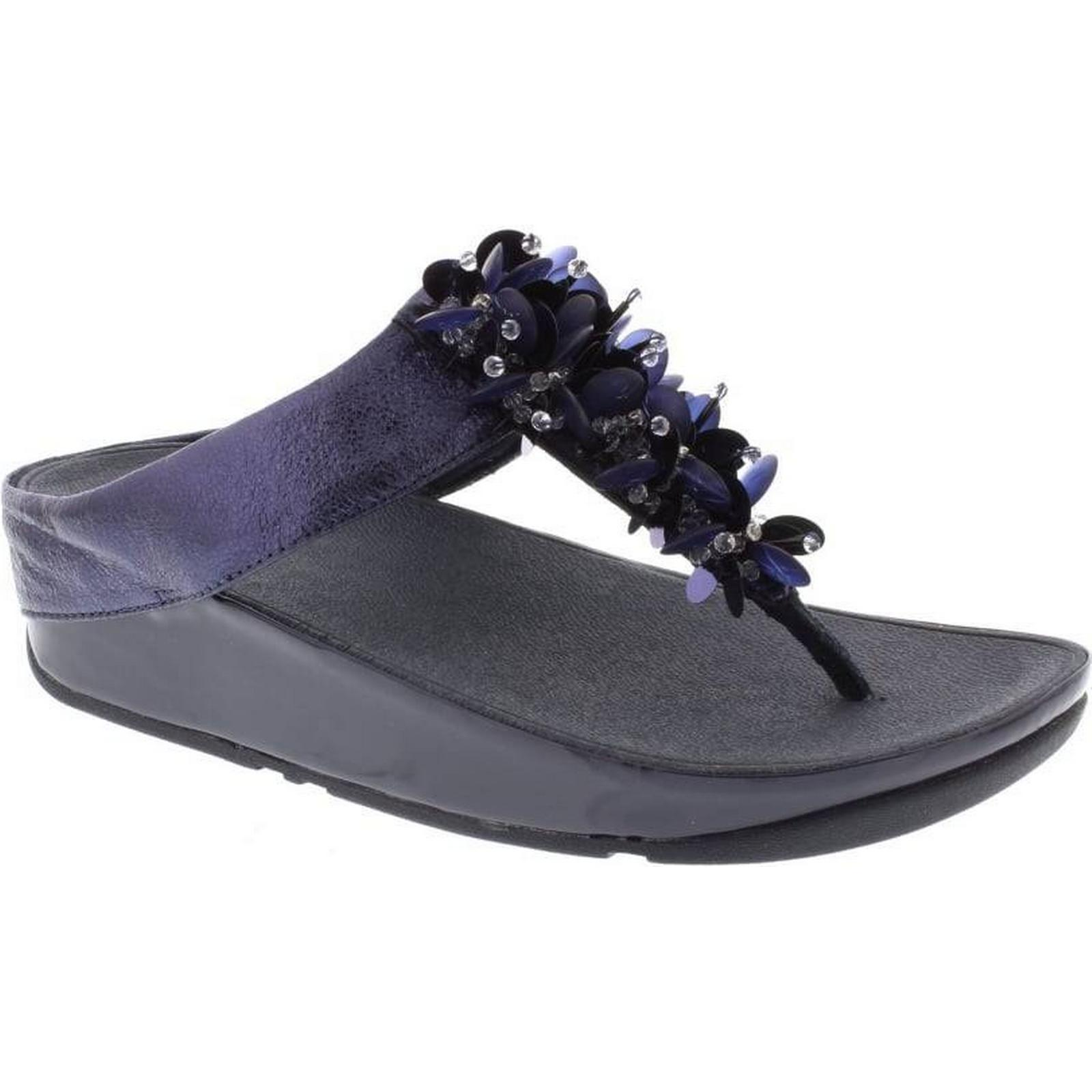 FitFlop™ FitFlop Booglaloo Toe Post - Midnight UK Navy Leather Size: 4 UK Midnight 74b7e5