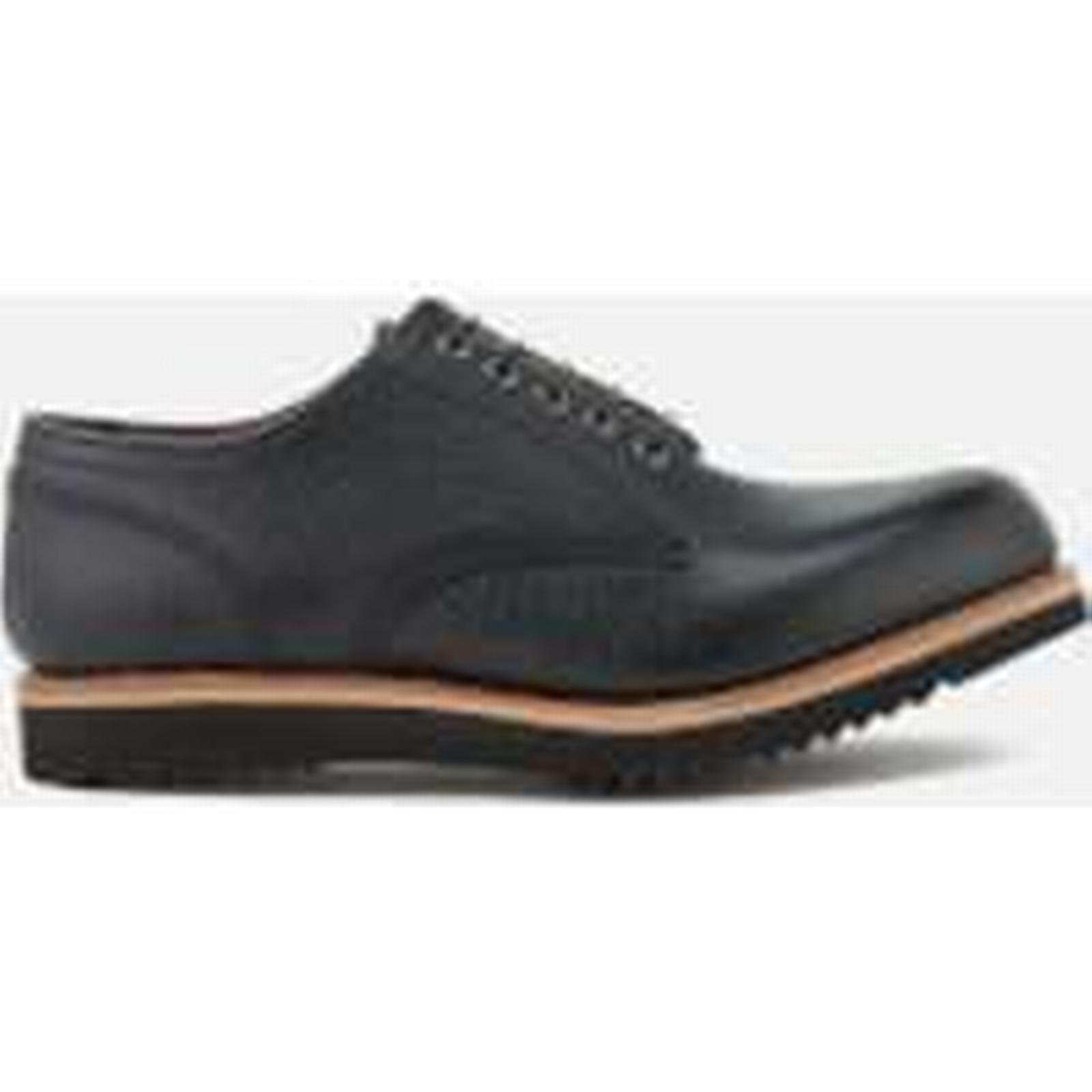 Grenson Men's Drew Grain Leather Derby UK Shoes - Black - UK Derby 8 - Black ee9b05