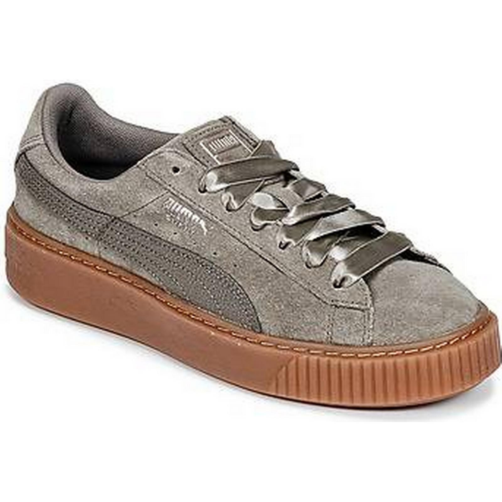 la plate - daim forme spartoo.co.uk puma en daim - bulle w & #  ; s les femmes et #  ; s Chaussure s formateurs en gris 03d205