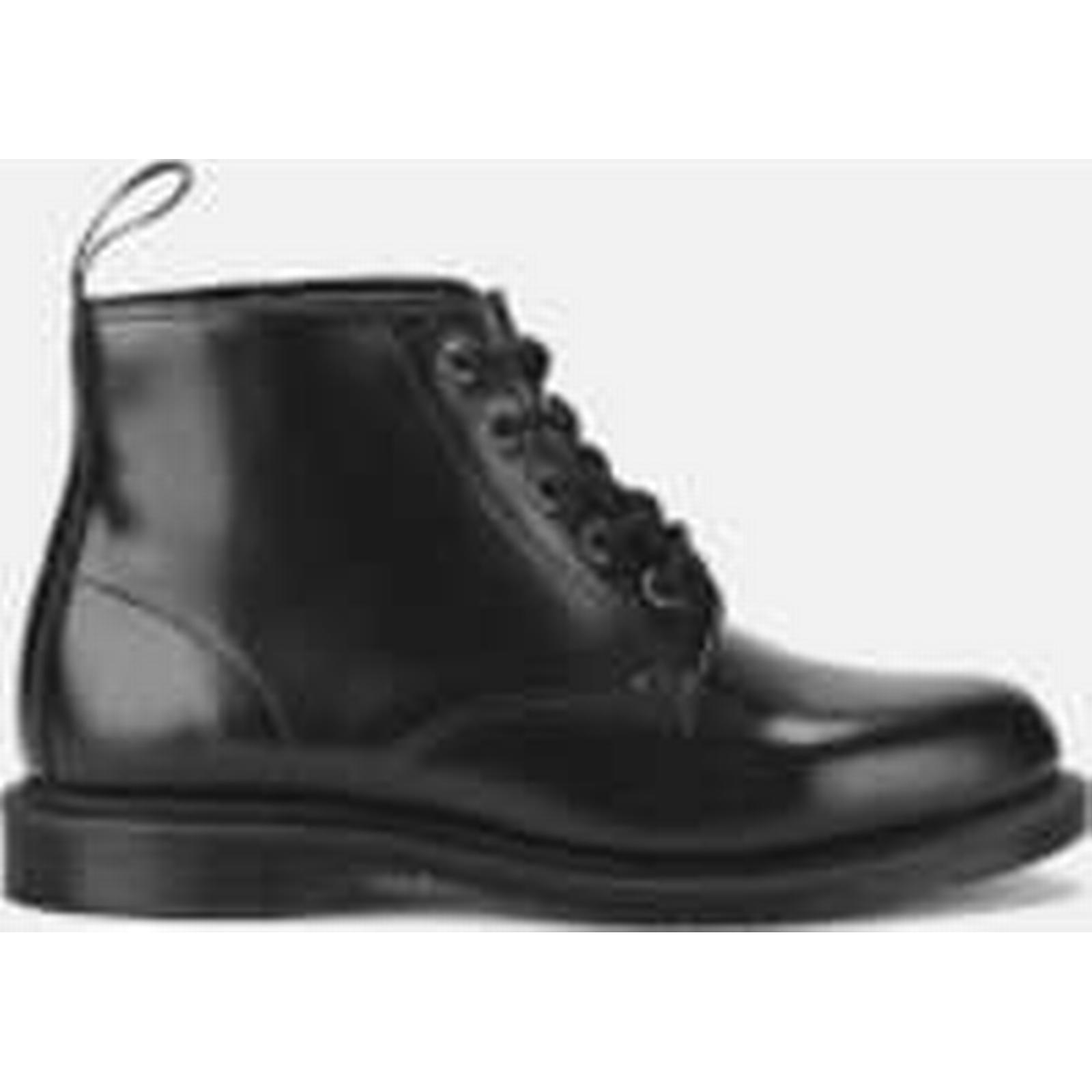 Dr. Martens Women's Emmeline Polished Smooth Black Leather 5-Eye Boots - Black Smooth - UK 7 - Black 8e5db7