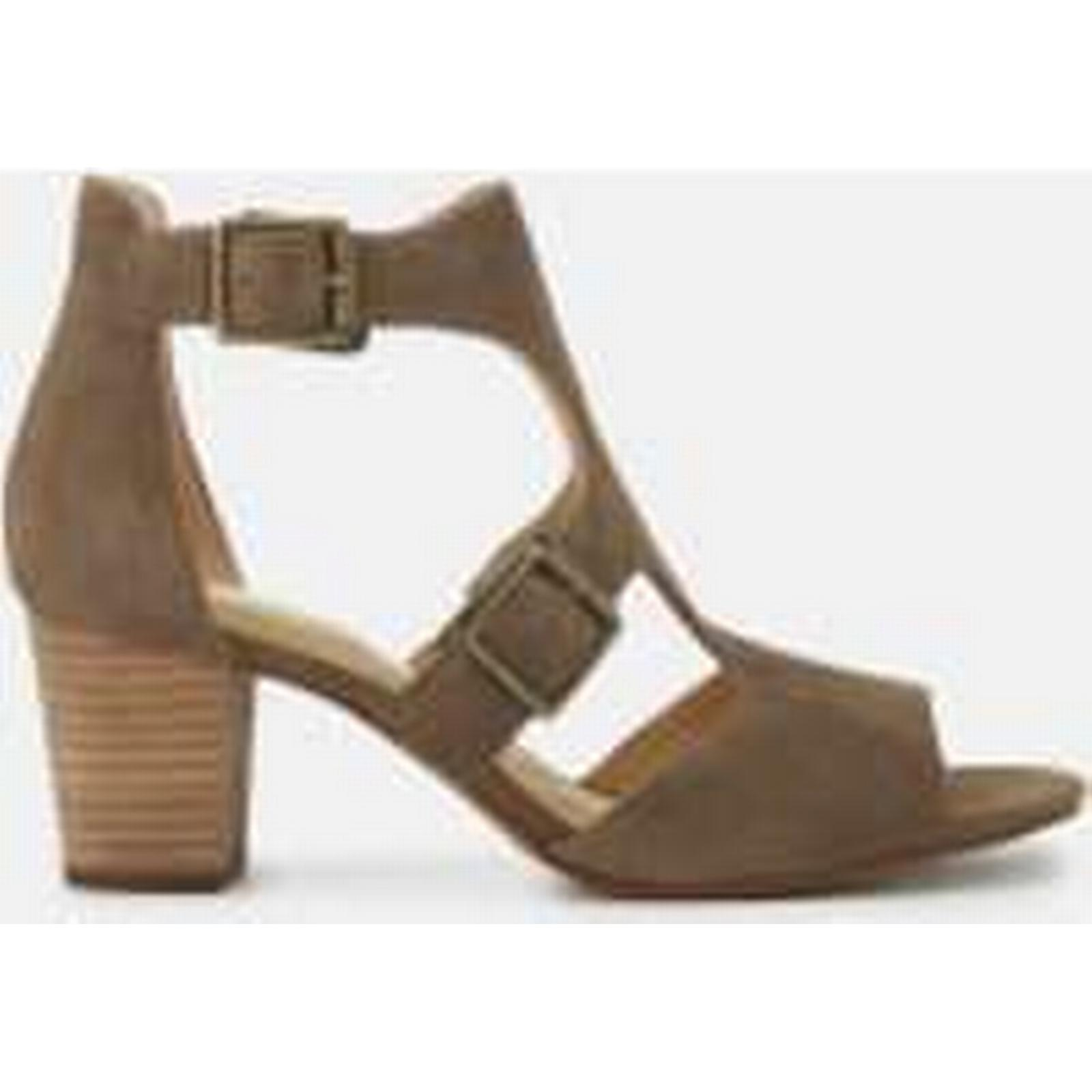 Clarks Women's Deloria Kay Suede Block Heeled Sandals - Olive Green - UK 4 - Green Olive 1ce307