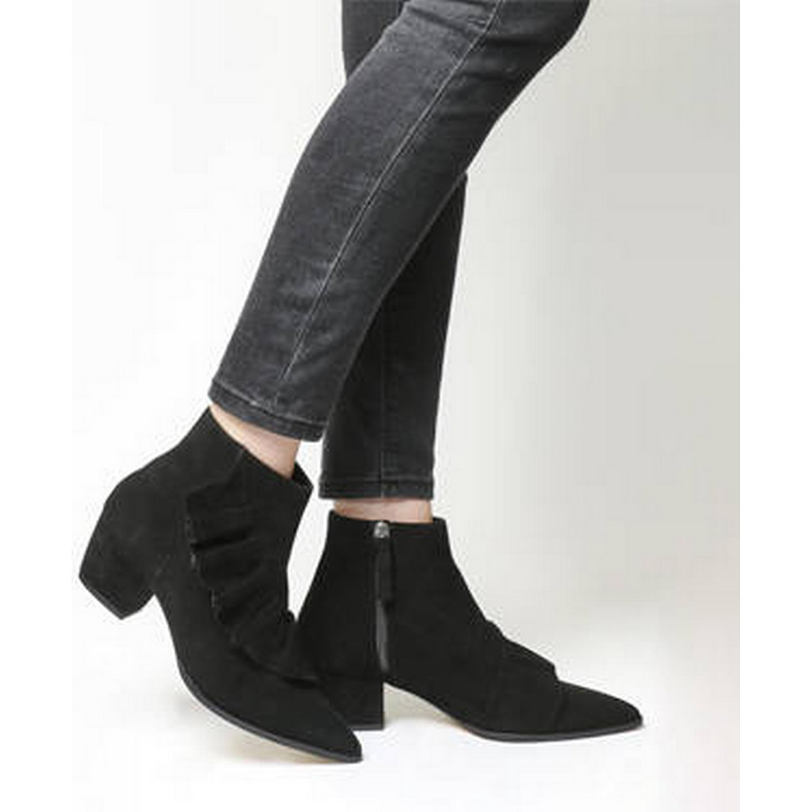 Office Ruffle Luscious Ruffle Office Ankle Boots BLACK SUEDE d6f9f7