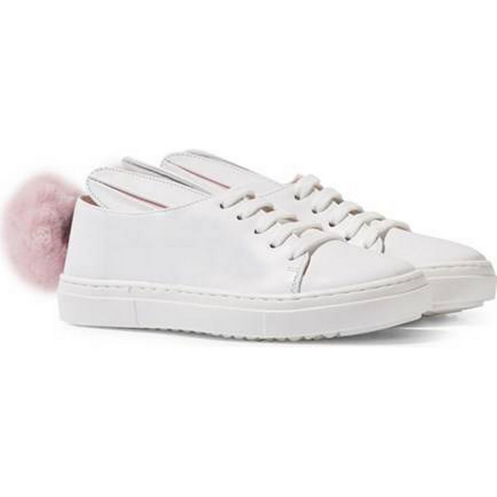 White Trainers Leather Bunny Pom Pom Trainers White f2df8c
