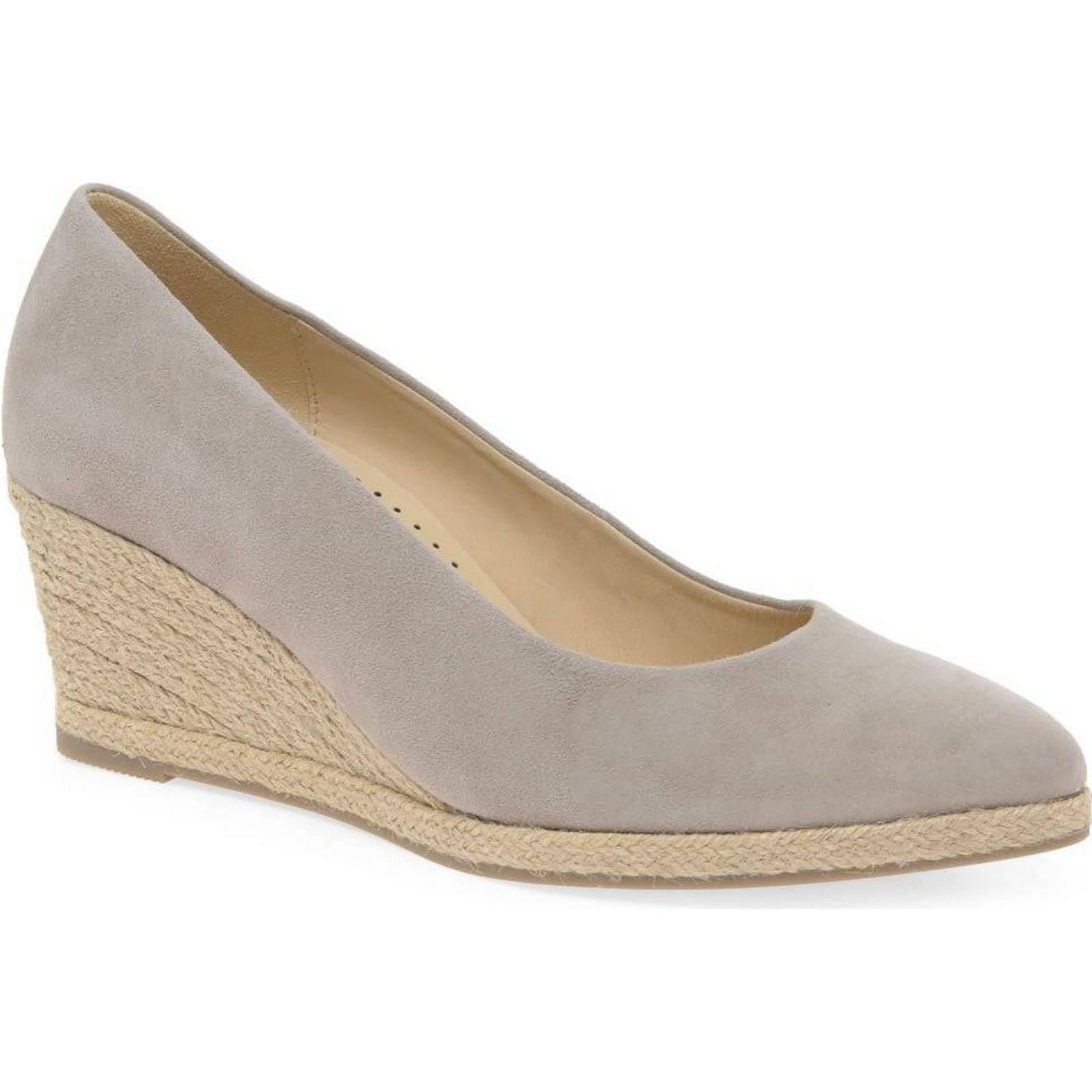 Gabor Paisley Shoes Womens Wedge Heel Court Shoes Paisley Colour: Beige Suede, Size: 4c2186