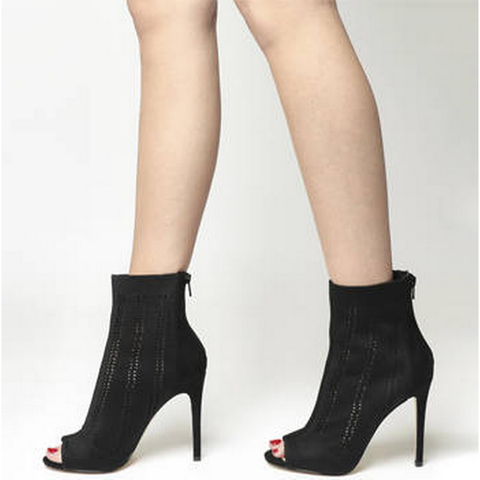 Office Lipstick Ankle Peep Toe Ankle Lipstick Boots BLACK KNIT 0fa5f7