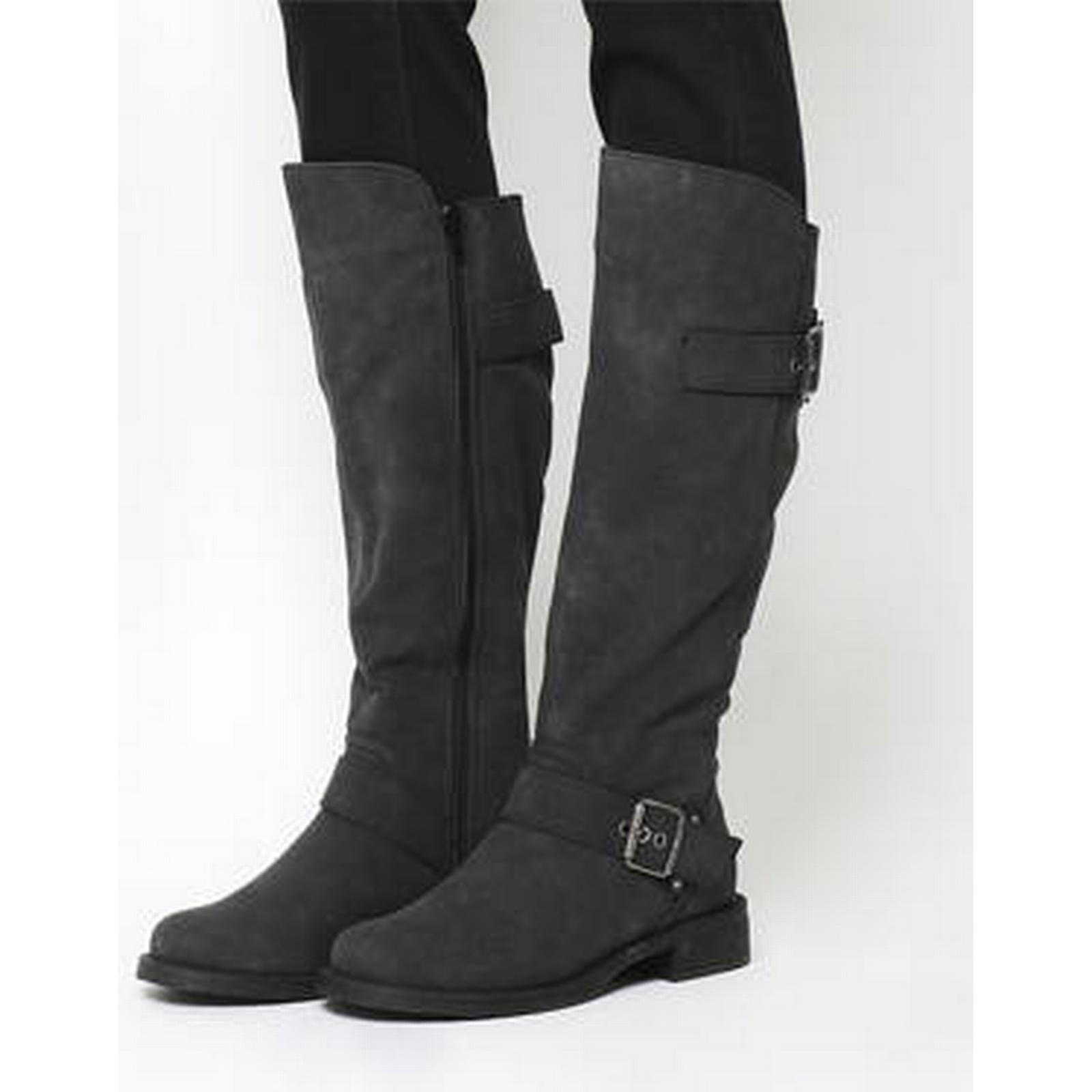 Office Easter Buckle Buckle Easter Knee Boots BLACK a1abeb