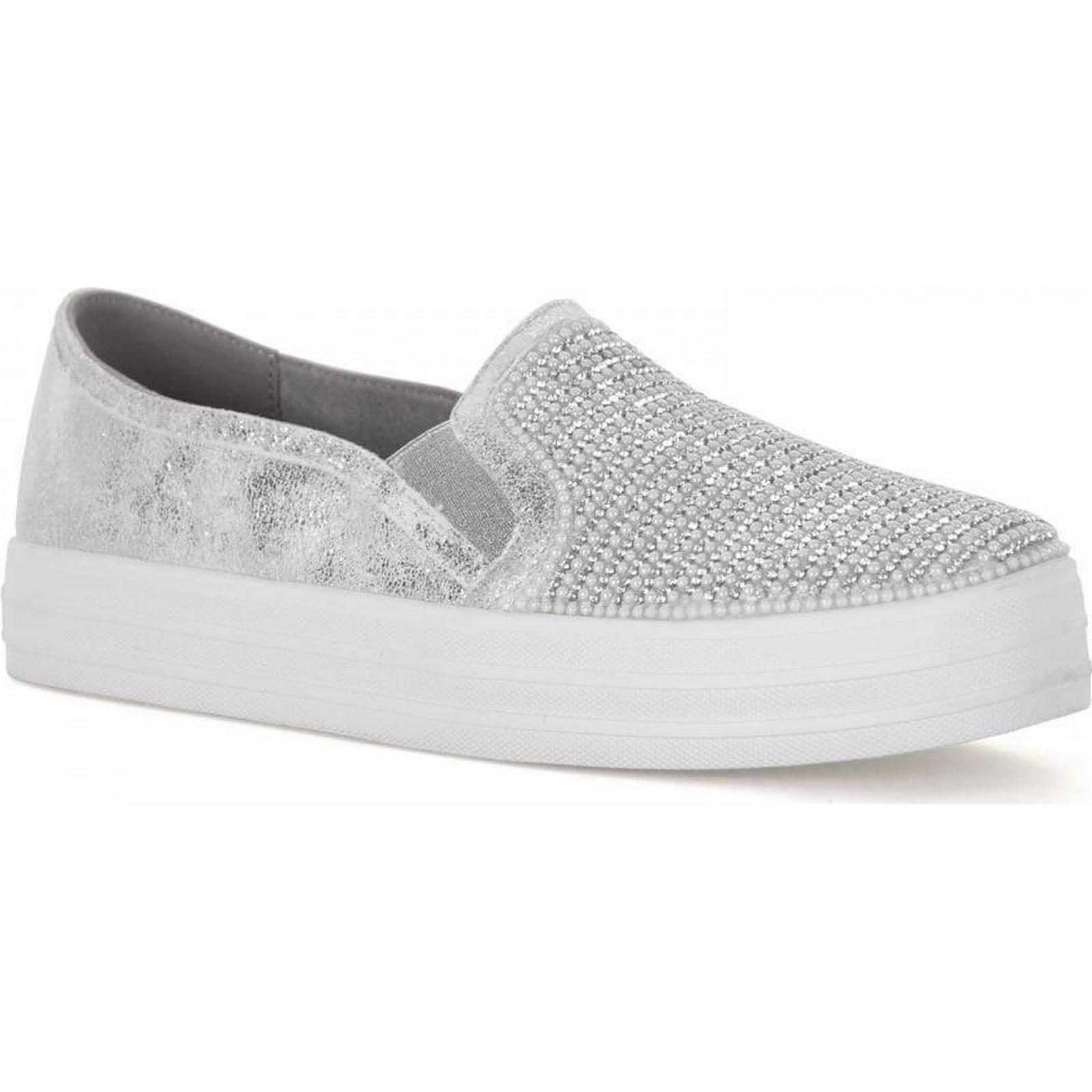 Skechers Slip-on Womens Double Shiny Dancer Slip-on Skechers Trainers (Silver) Colour: 4b722d