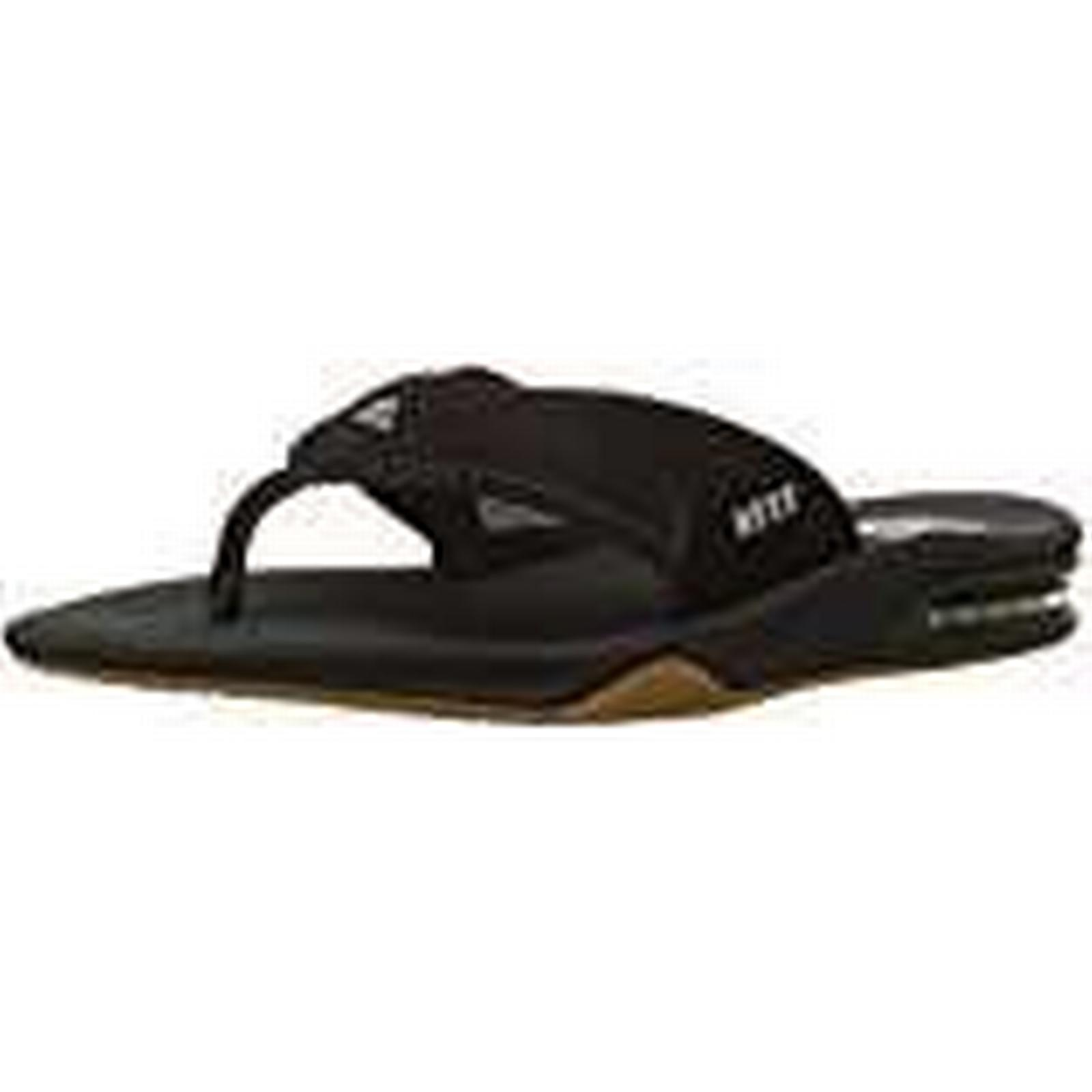 Reef Men's Fanning Sandals, Black UK (Black / Silver), 8 UK Black 4111c5