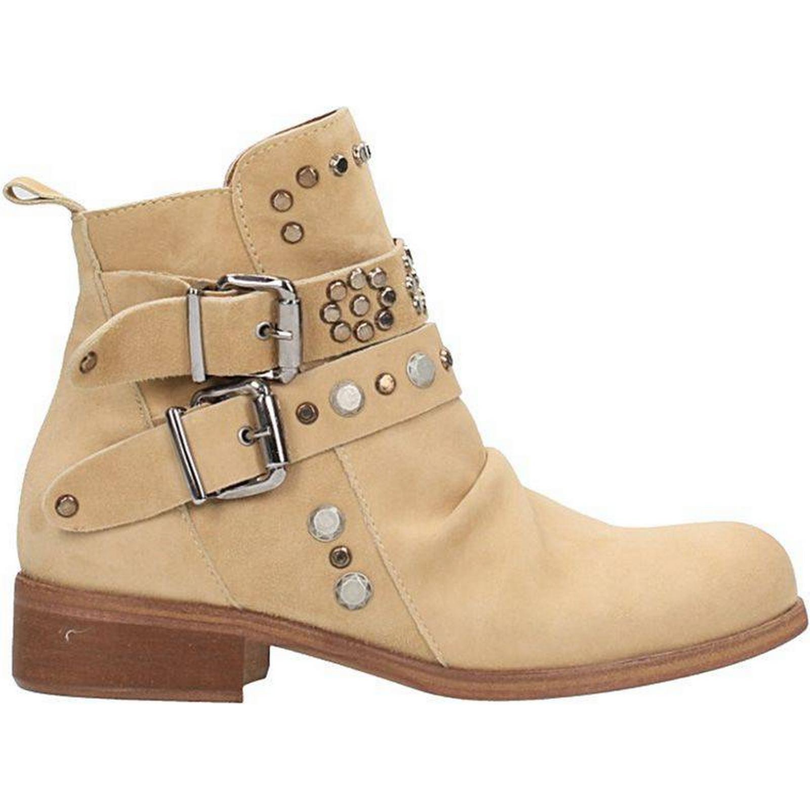 Julie Dee Beige Biker Boots Boots Boots 43975a