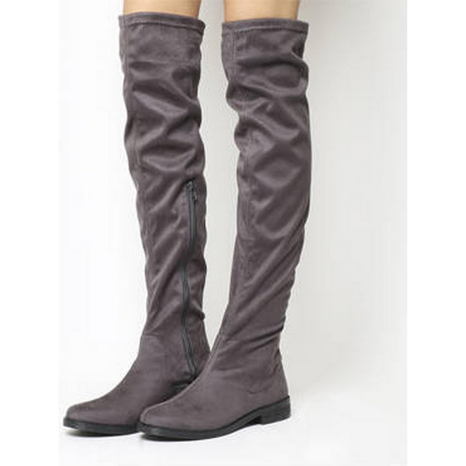 Office Eden Stretch Over the GREY Knee Boots GREY the cb7300